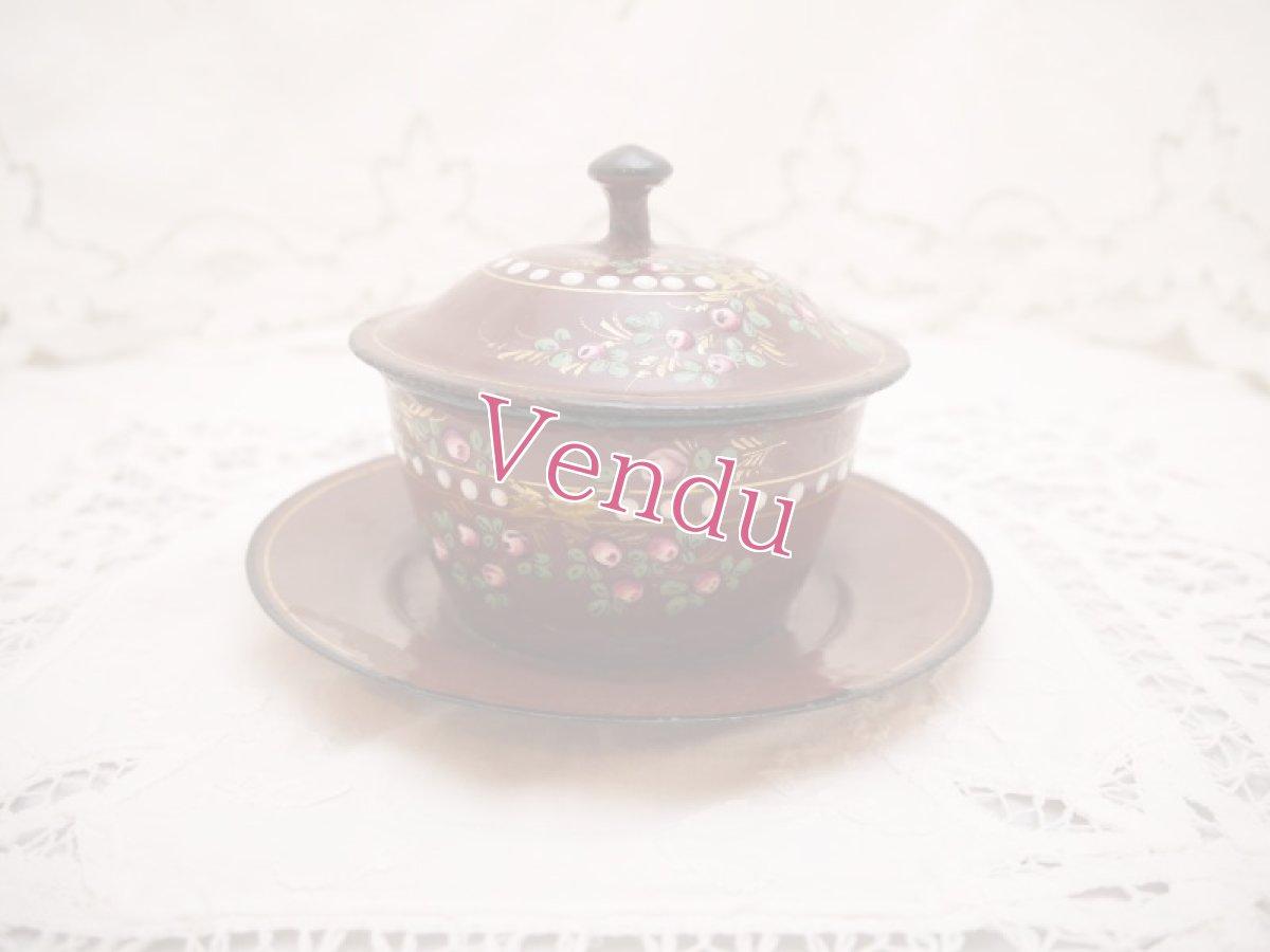 画像1: 小薔薇柄茶色バターディッシュ (1)
