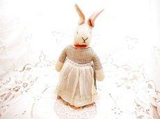 画像2: チェック柄ドレス ウサギぬいぐるみ (2)