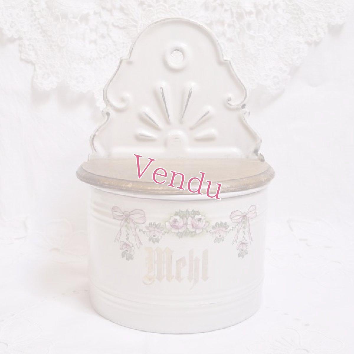 画像1: ホーロー 薔薇とリボン柄 小麦粉缶 (1)