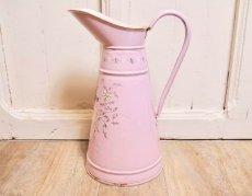 画像2: エトワール社 ピンク色の鳥とデイジー柄大きめジャグ (2)