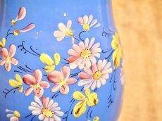 画像10: ブルー地花柄ホーロージャグ (10)