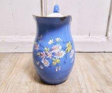 画像1: ブルー地花柄ホーロージャグ (1)