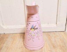 画像3: エトワール社 ピンク色の鳥とデイジー柄大きめジャグ (3)