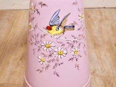 画像6: エトワール社 ピンク色の鳥とデイジー柄大きめジャグ (6)