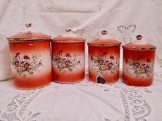 画像1: レア赤ぼかし小花柄キャニスター4個セット (1)