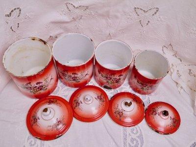 画像1: レア赤ぼかし小花柄キャニスター4個セット