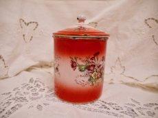 画像9: レア赤ぼかし小花柄キャニスター4個セット (9)