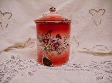 画像14: レア赤ぼかし小花柄キャニスター4個セット (14)