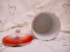 画像10: レア赤ぼかし小花柄キャニスター4個セット (10)