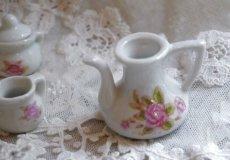 画像6: ドール用 薔薇柄 陶器のティーセット (6)