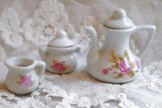 画像5: ドール用 薔薇柄 陶器のティーセット (5)