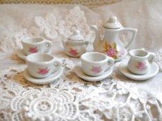 画像2: ドール用 薔薇柄 陶器のティーセット (2)