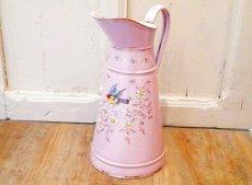 画像1: エトワール社 ピンク色の鳥とデイジー柄大きめジャグ (1)