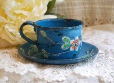 画像4: ホーローブルー小花柄カップ&ソーサー (4)