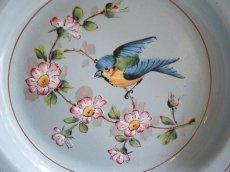 画像4: レア!りんごの花と小鳥柄 ブルーのホーロープレート (4)