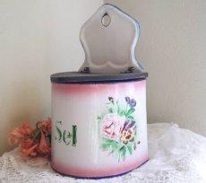 画像1: ジャピー社バラとパンジー柄ピンクぼかしセル缶 (1)