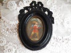 画像2: ナポレオン三世様式 黒の壁掛けメタルフォトフレーム (2)