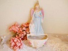 画像1: 天使と子供の陶器の聖水盤 (1)