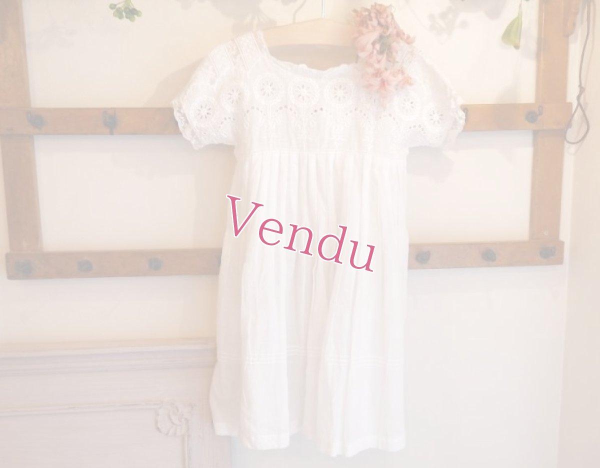 画像1: 綿ローン ホワイト刺繍 子供ドレス (1)