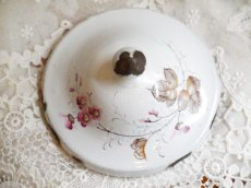 画像4: 白地にピンクのお花柄 ホーロー バターディッシュ (4)