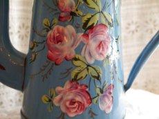 画像5: ブルー ハンドペイント薔薇柄ホーローポット (5)