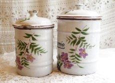 画像12: 紫のお花柄白キャニスター4点セット (12)