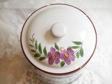 画像4: 通常価格¥32000→¥19200*紫のお花柄ハンドペイント白キャニスター4点セット (4)