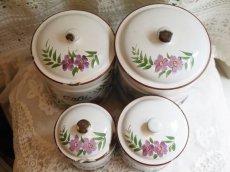 画像2: 紫のお花柄白キャニスター4点セット (2)