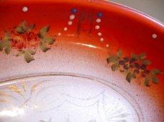 画像4: 赤ぼかし 薔薇とスミレ柄 楕円形ホーロートレイ (4)