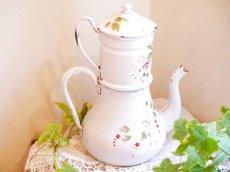 画像3: 花と小鳥柄ハンドペイントの白のポット (3)