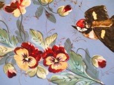 画像13: 激レア!小鳥とパンジー柄 ブルーのファウンテン (13)