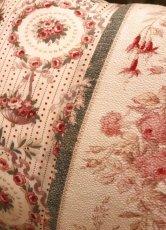画像3: フレンチテキスタイル ピンク薔薇柄クッション (3)
