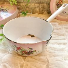 画像9: DOULIN et DELANGRE社ピンクぼかし 花柄 蓋つき片手鍋 (9)