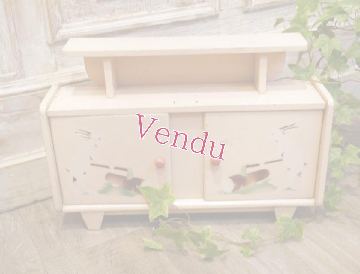 画像1: うさぎ柄ドール用ピンクのキャビネット (1)