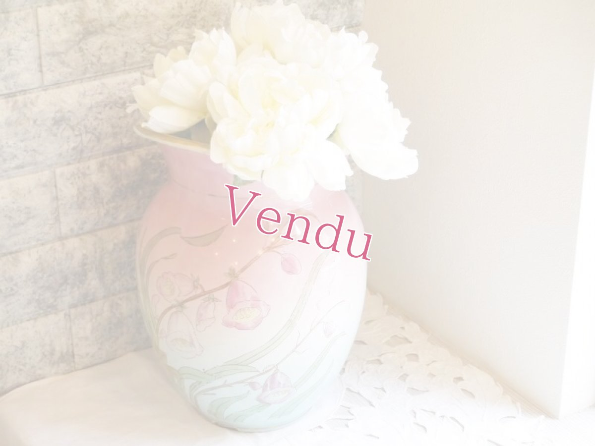 画像1: ピンクとブルーのぼかしお花柄大きめジャグ (1)