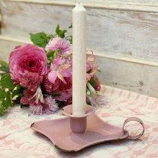 画像1: ピンク色ホーローキャンドルホルダー (1)
