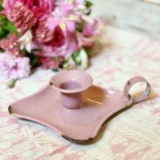 画像2: ピンク色ホーローキャンドルホルダー (2)
