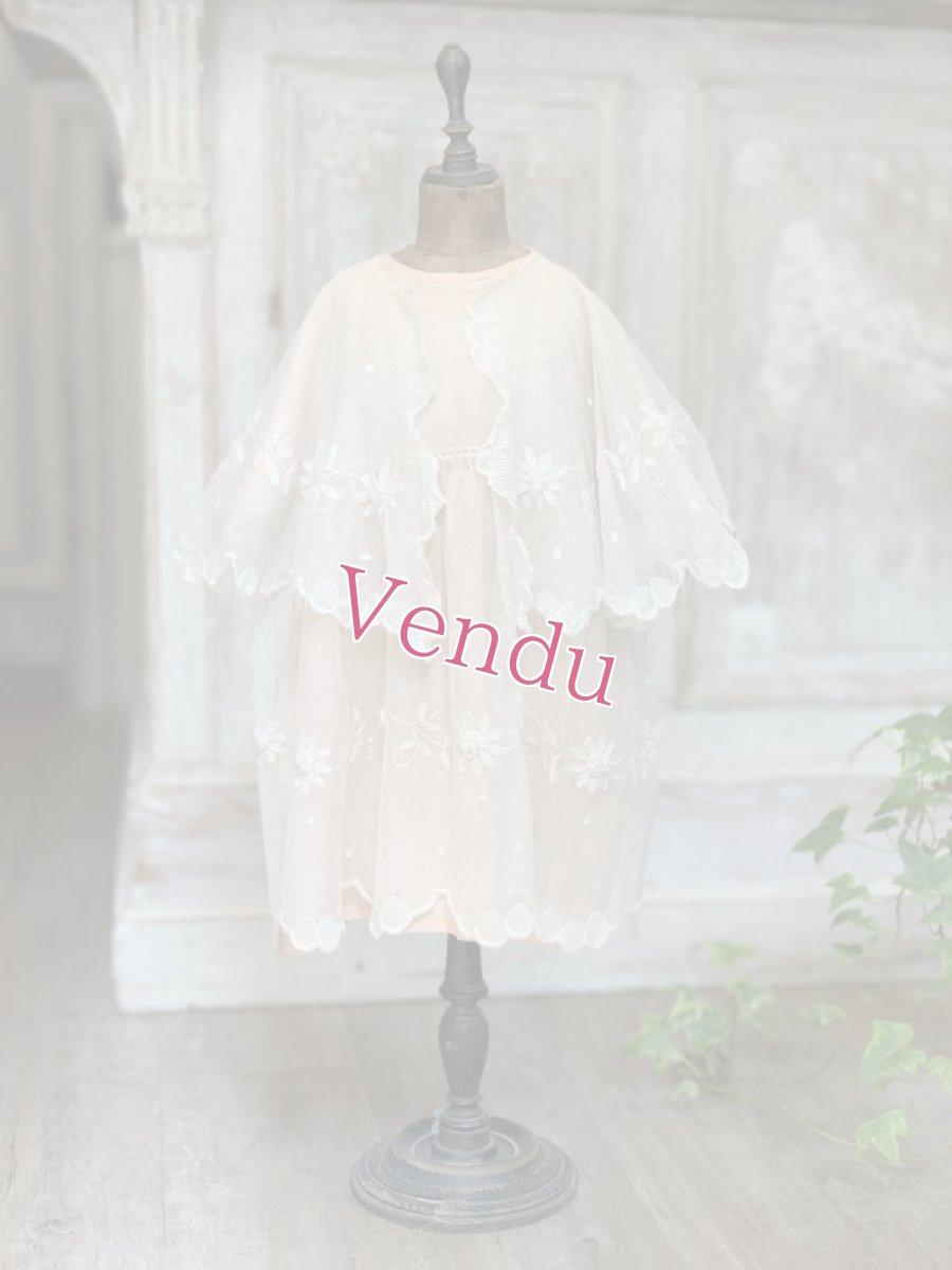 画像1: ピンクシルクとチュール子供用ドレスとケープのセット (1)