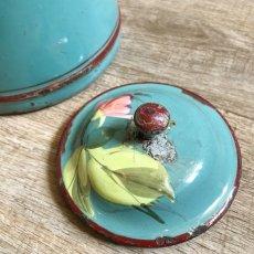 画像8: ベリーとお花柄ターコイズカラーのハンドペイントのポット (8)