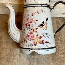 画像5: 小鳥とお花の白いホーローポット (5)