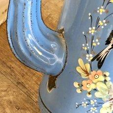 画像8: 小鳥や蝶 お花柄のブルーポット (8)