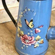 画像7: 小鳥や蝶 お花柄のブルーポット (7)