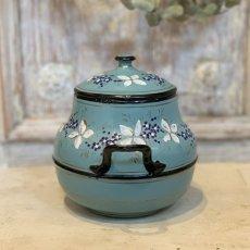 画像3: 小花柄 グリーンブルーのシュガーポット (3)