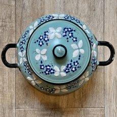 画像4: 小花柄 グリーンブルーのシュガーポット (4)