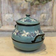 画像2: 小花柄 グリーンブルーのシュガーポット (2)
