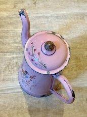 画像5: 小鳥と蕾 ピンクのホーローポット (5)