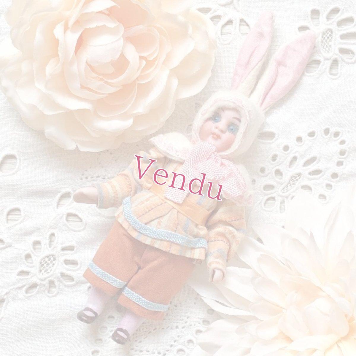 画像1: ピンクストライプの上着 パンツスタイルバニードール (1)