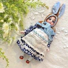 画像1: ネイビー花柄ドレス ダブリエスタイル バニードール (1)
