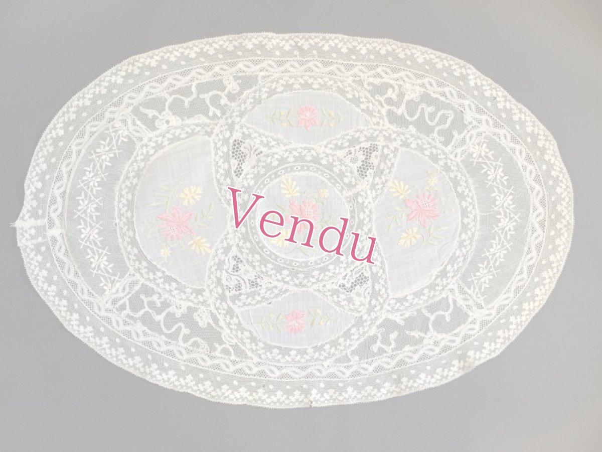 画像1: お花の色刺繍 ノルマンディーレースのドイリー (1)