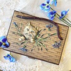 画像1: 猫ちゃんと青いお花柄 ソーイングセット (1)